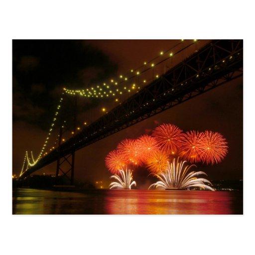 Feuerwerk Lissabon Postkarte