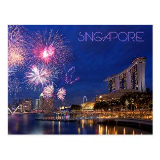 Feuerwerke an der Jachthafen-Bucht, Singapur Postkarte
