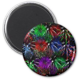 Feuerwerke auf schwarzem Hintergrund Runder Magnet 5,7 Cm
