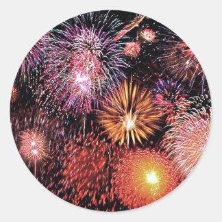 Feuerwerke! Runder Aufkleber