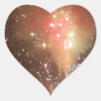 Feuerwerke Herz-Aufkleber
