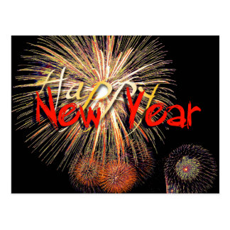 Feuerwerke in rotem guten Rutsch ins Neue Jahr Postkarte