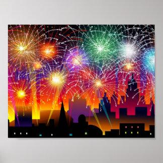 Feuerwerke nachts auf Stadt Poster