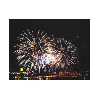 Feuerwerke und Québec-Stadt Leinwanddruck