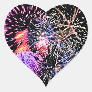 Feuerwerks-Anzeige Herz-Aufkleber
