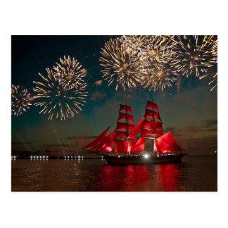 Feuerwerks-Feier über einem Segelschiff Postkarten