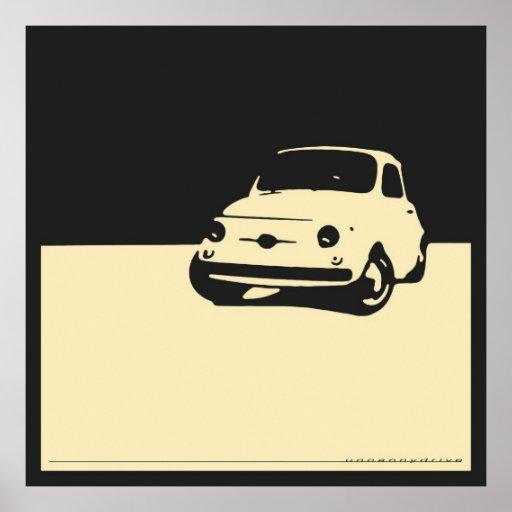 Fiat 500, 1959 - Creme auf Holzkohlenschwarzem Plakatdrucke