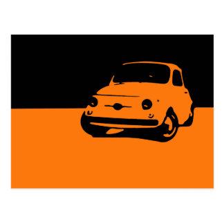 Fiat 500, 1959 - Orange auf dunkler Postkarte