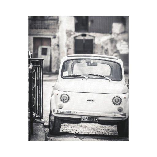 Fiat 500, cinquecento, in Italien, klassische Lein Gespannter Galerie Druck