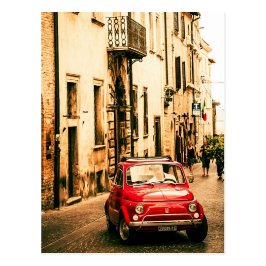 fiat 500 cinquecento in italien postkarte zazzle. Black Bedroom Furniture Sets. Home Design Ideas