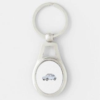 Fiat 500 Topolino Silberfarbener Oval Schlüsselanhänger