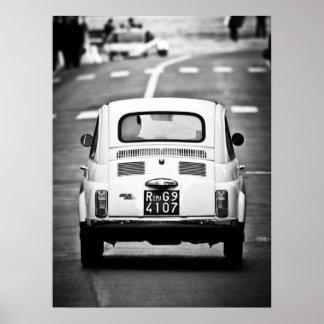 Fiat 500 Vintages cinquecento in Rom Italien Plakat