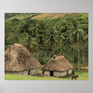 Fidschi, Viti Levu, Navala, traditionelle Bure Häu Poster