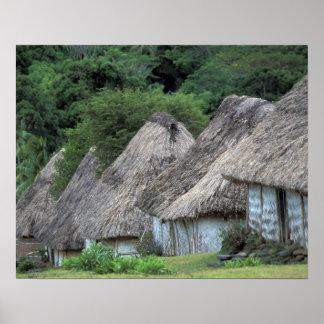 Fidschi, Viti, traditionelle Hüttenhäuser Poster