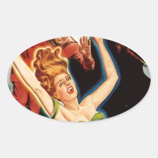 Fiel aus einem Raumschiff heraus Ovaler Aufkleber