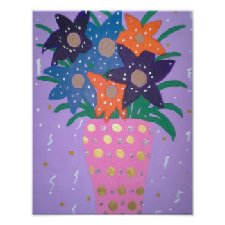 Fiesta-Blumen-moderner noch Leben-Kunst-Druck Poster