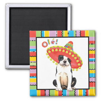 Fiesta Boston Terrier Quadratischer Magnet