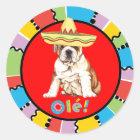 Fiesta-Bulldogge Runder Aufkleber