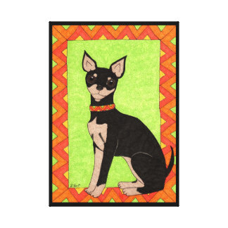 Fiesta-Chihuahua-mexikanische Art-Volkskunst Leinwanddruck