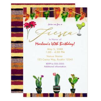 FIESTA Goldsüdwestkaktus-Geburtstags-Party Karte