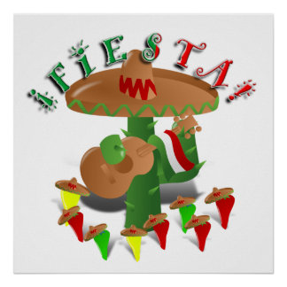 Fiesta-Kaktus mit Gitarren-u. Poster