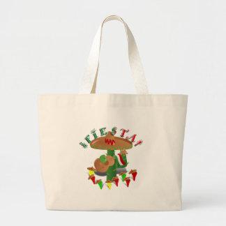 Fiesta-Kaktus w/Sombrero u. Gitarre Jumbo Stoffbeutel