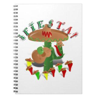 Fiesta-Kaktus w/Sombrero u. Gitarre Spiral Notizblock