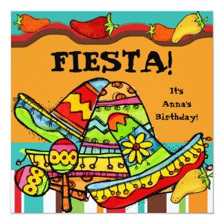 Fiesta kundengebundene Geburtstags-Einladungen Quadratische 13,3 Cm Einladungskarte