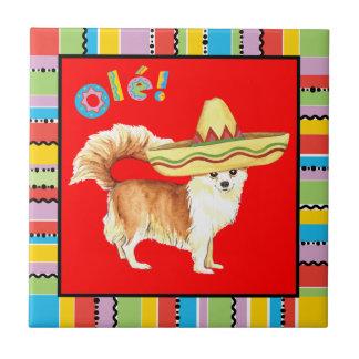 Fiesta-lange Mantel-Chihuahua Kleine Quadratische Fliese