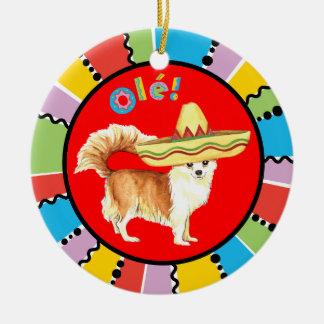 Fiesta-lange Mantel-Chihuahua Rundes Keramik Ornament