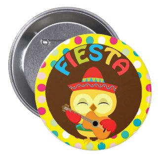 Fiesta mit niedlicher Eule und Gitarre Runder Button 7,6 Cm