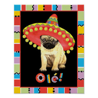 Fiesta-Mops Poster