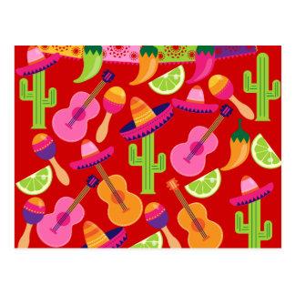 Fiesta-PartySombrero kalkt Gitarre Maraca Saguaro Postkarte