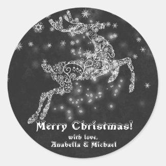 Filligree Ren-Tafel-frohe Weihnachten Runder Aufkleber