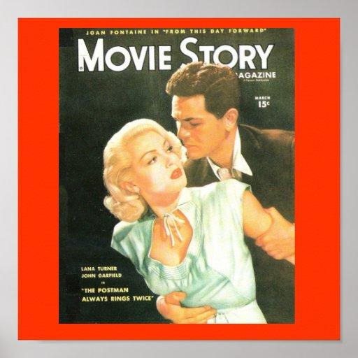 Film-Geschichten-Abdeckungsvierziger jahre Lana Tu Plakatdrucke