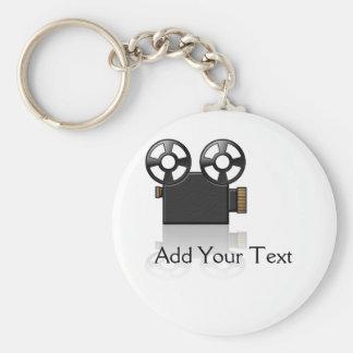 Film-Kamera im Schwarzen und Gold auf Weiß Standard Runder Schlüsselanhänger
