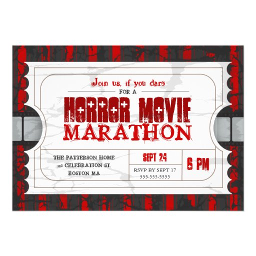 Film-Karten-Horror-Film-Party-Aufnahme laden ein Individuelle Ankündigungskarte