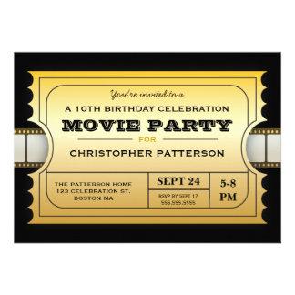 Film-Party-Geburtstags-Party-Aufnahme-Goldkarte Personalisierte Ankündigungskarten