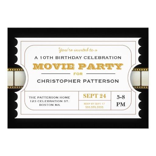 Film-Party-Geburtstags-Party-Aufnahme-Karte Personalisierte Einladung