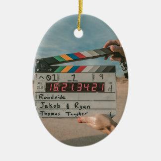 Filmregisseur-Klatschen-Film-Kino-Kamera Keramik Ornament