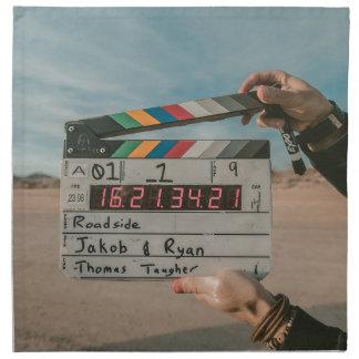 Filmregisseur-Klatschen-Film-Kino-Kamera Serviette