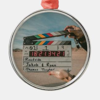 Filmregisseur-Klatschen-Film-Kino-Kamera Silbernes Ornament