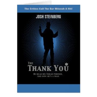 Filmstar-Bar Mitzvah im schwarzen Blau danken Mitteilungskarte