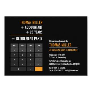 Finanztaschenrechner-Ruhestands-Party 12,7 X 17,8 Cm Einladungskarte