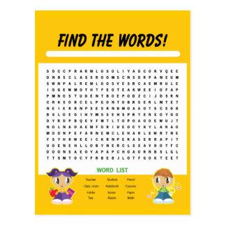 Finden Sie die Wörter, Wort-Suchtätigkeits-Karte Postkarte