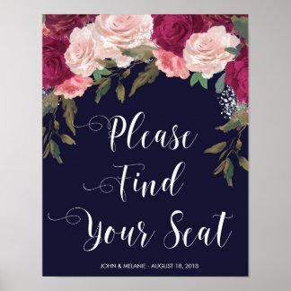finden Sie Ihr Sitzhochzeitszeichen-Marinerosa mit Poster