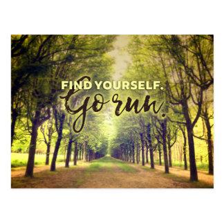 Finden Sie sich, zu gehen Laufläufer-Zitat Postkarte