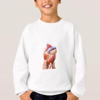 Finger, die vorbildliches menschliches Herz auf Sweatshirt