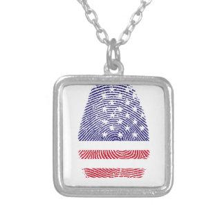 Fingerabdruck amerikanische USA-Staatsflagge Halskette Mit Quadratischem Anhänger