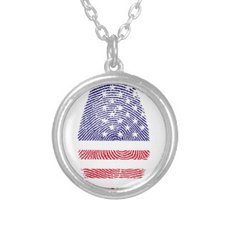 Fingerabdruck amerikanische USA-Staatsflagge Halskette Mit Rundem Anhänger